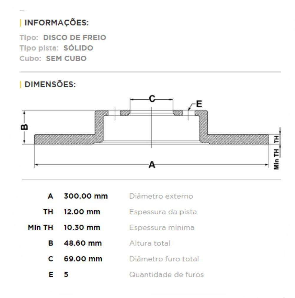Disco de Freio Traseiro Mercedes C180 2015 em Diante
