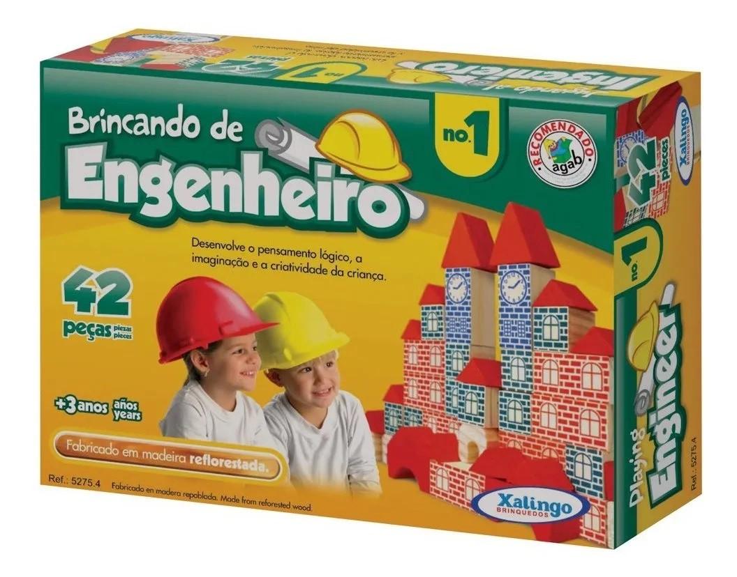 BLOCOS DE MONTAR MADEIRA ENGENHEIRO 42 PEÇAS 52754 XALINGO