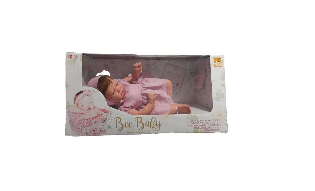 BONECA BEE BABY REBORN RECÉM NASCIDO LILAS 0865 BEE TOYS
