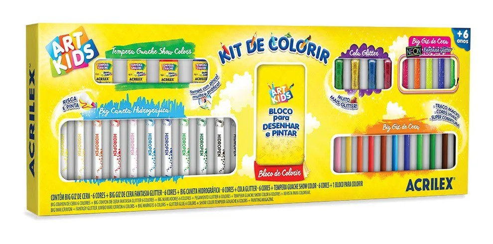 KIT DE COLORIR BIG ART KIDS COMPLETO 40060 ACRILEX