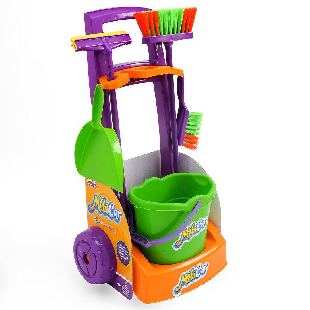 KIT LIMPEZA INFANTIL COM CARRINHO MOBI CAR 238 USUAL PLASTIC