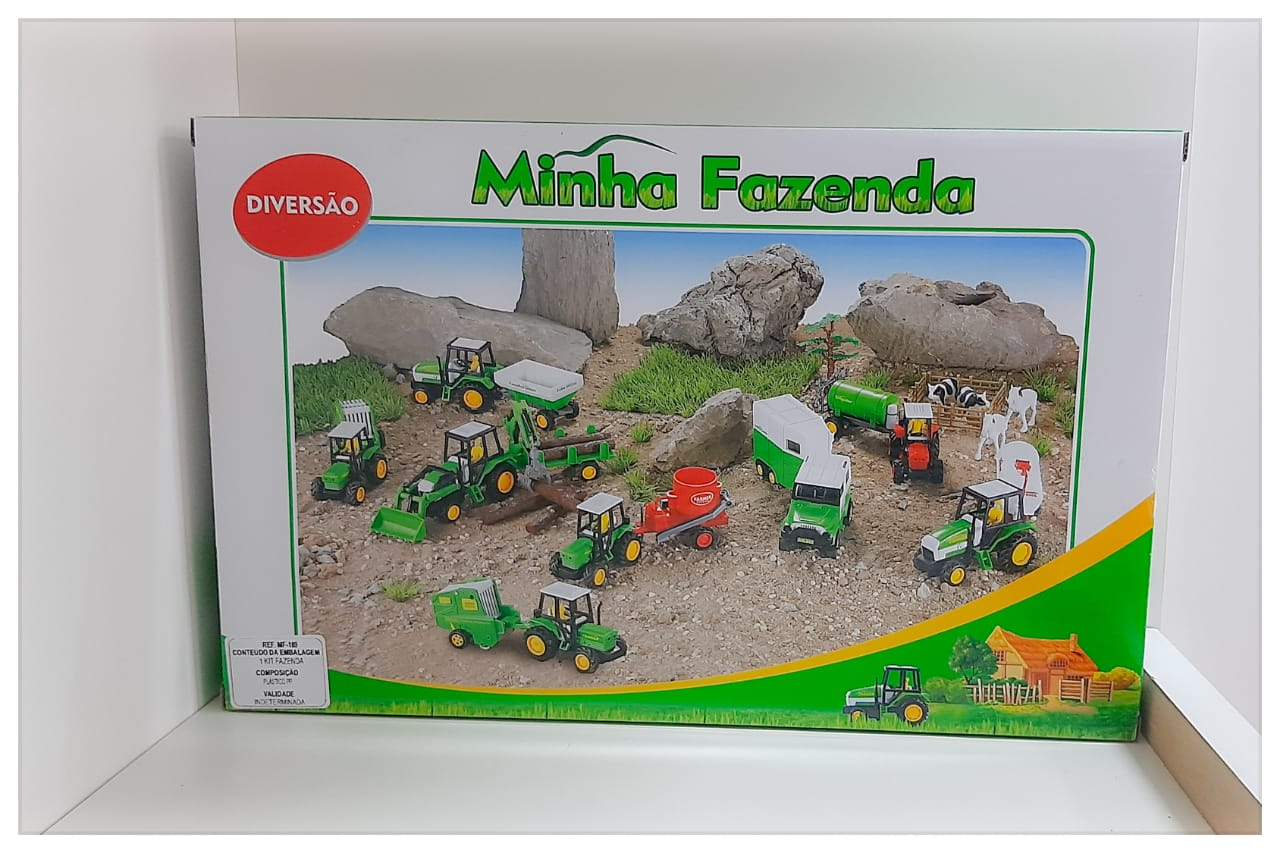 KIT MINHA FAZENDINHA COMPLETO CARRETA TRATOR MF-189 FÊNIX
