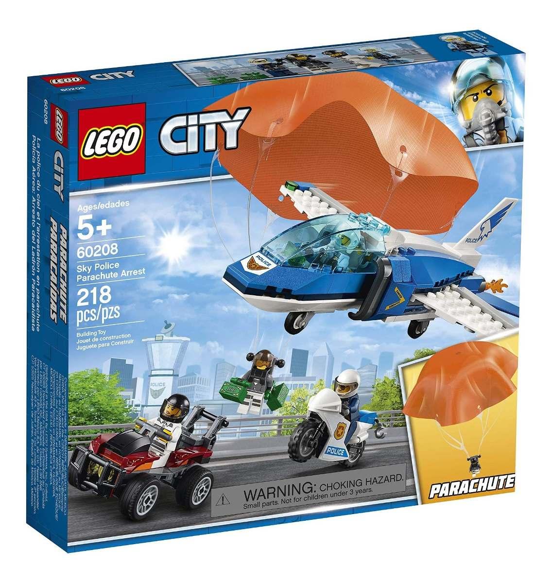 LEGO CITY POLICIA AÉREA DETENCÃO PARAQUEDAS 60208