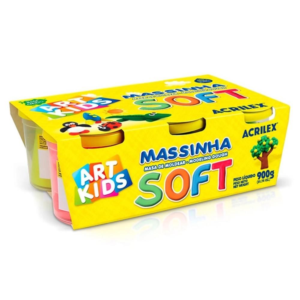 MASSINHA DE MODELAR SOFT COM 6 POTES 150G CADA 07306 ACRILEX