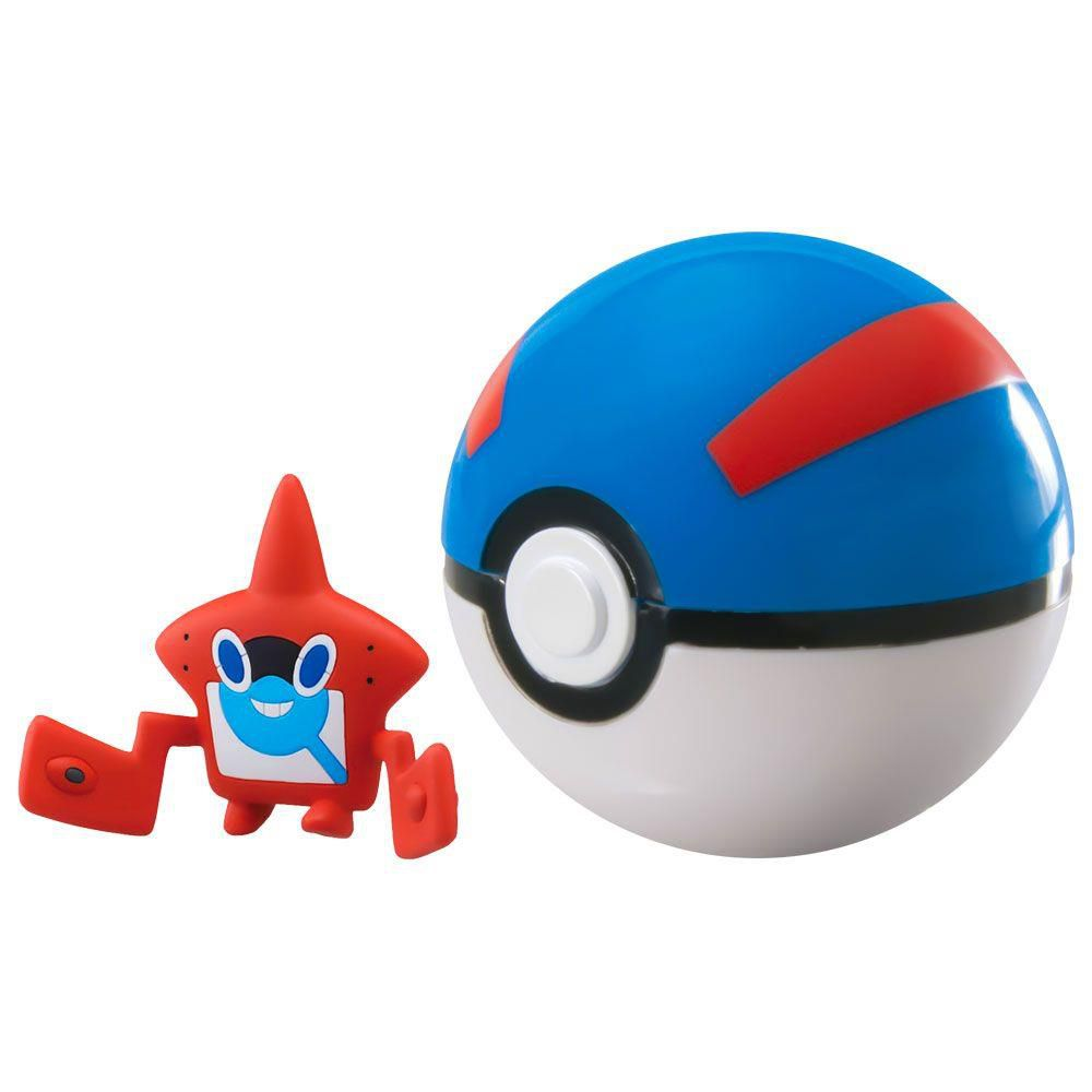MINI FIGURA POKÉMON E POKÉBOLA COM CLIP ROROM POKEDEX E GREAT BALL SUNNY