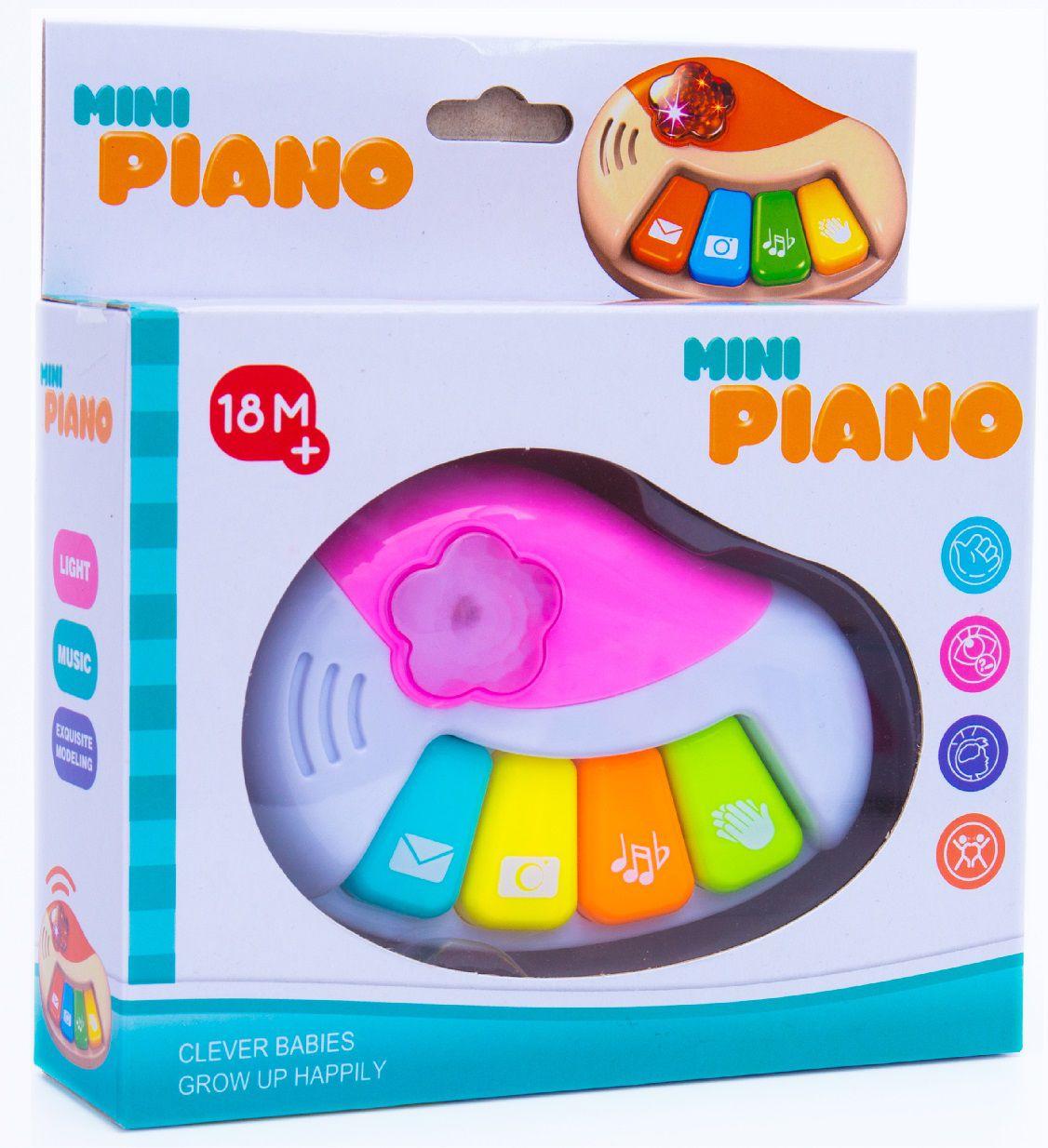 PIANO MUSICAL COM LUZ 4 TECLAS ROSA 7195 CUTE TOYS