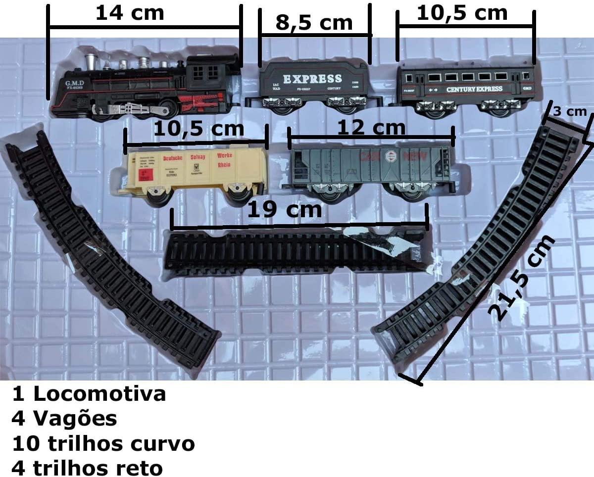 PISTA TREM LOCOMOTIVA COM LUZ E SOM DMT5750 DM TOYS