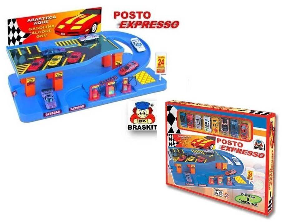 POSTO EXPRESSO COM 8 CARRINHOS DE METAL 7504 BRASKIT
