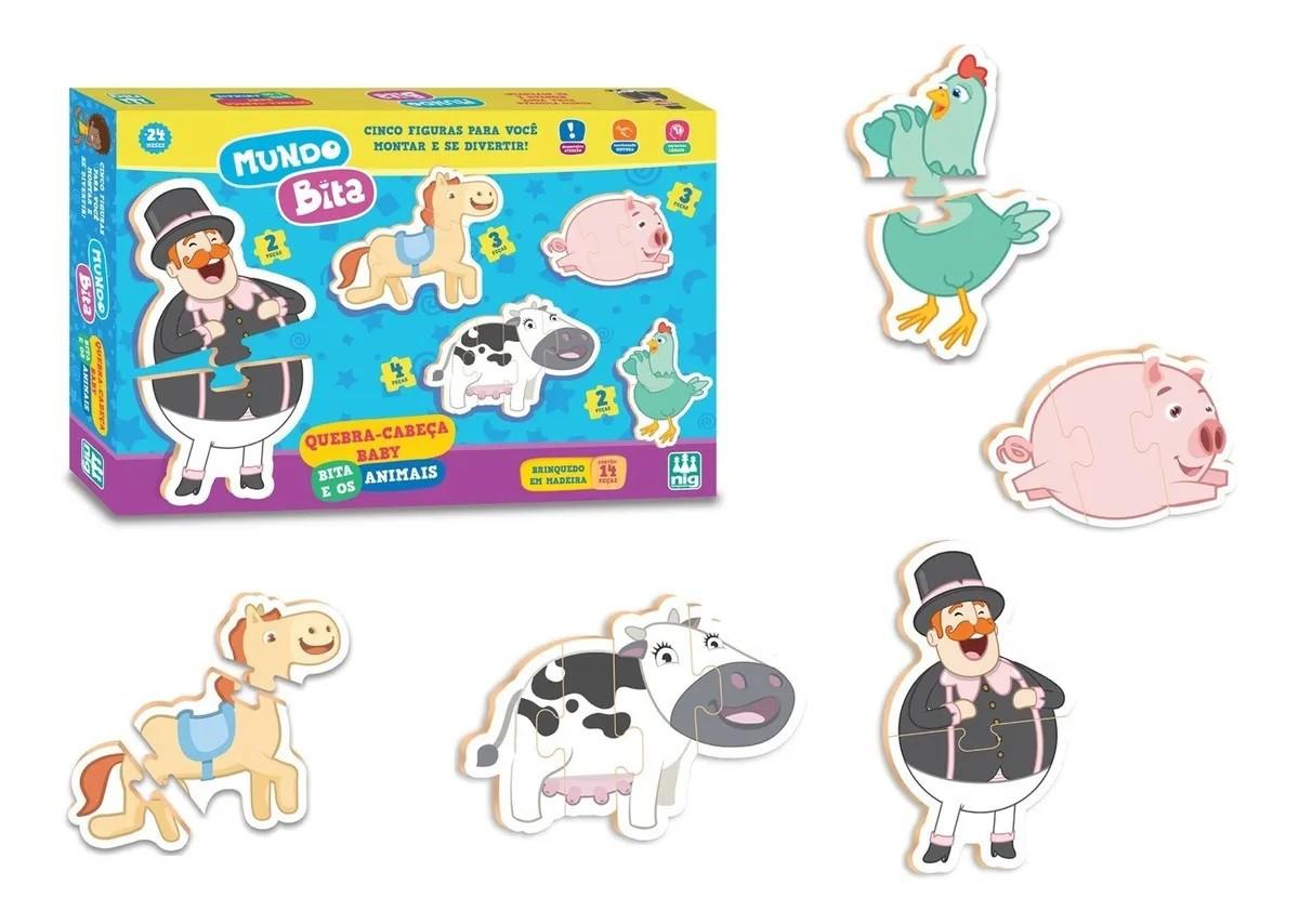 QUEBRA CABEÇA BABY BITA E OS ANIMAIS 14 PEÇAS 0692 NIG