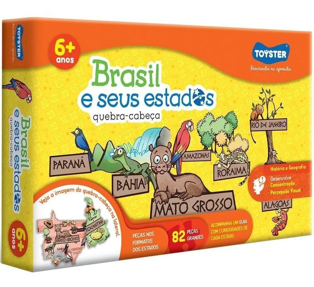 QUEBRA CABEÇA BRASIL E SEUS ESTADOS 82 PEÇAS 2058 TOYSTER