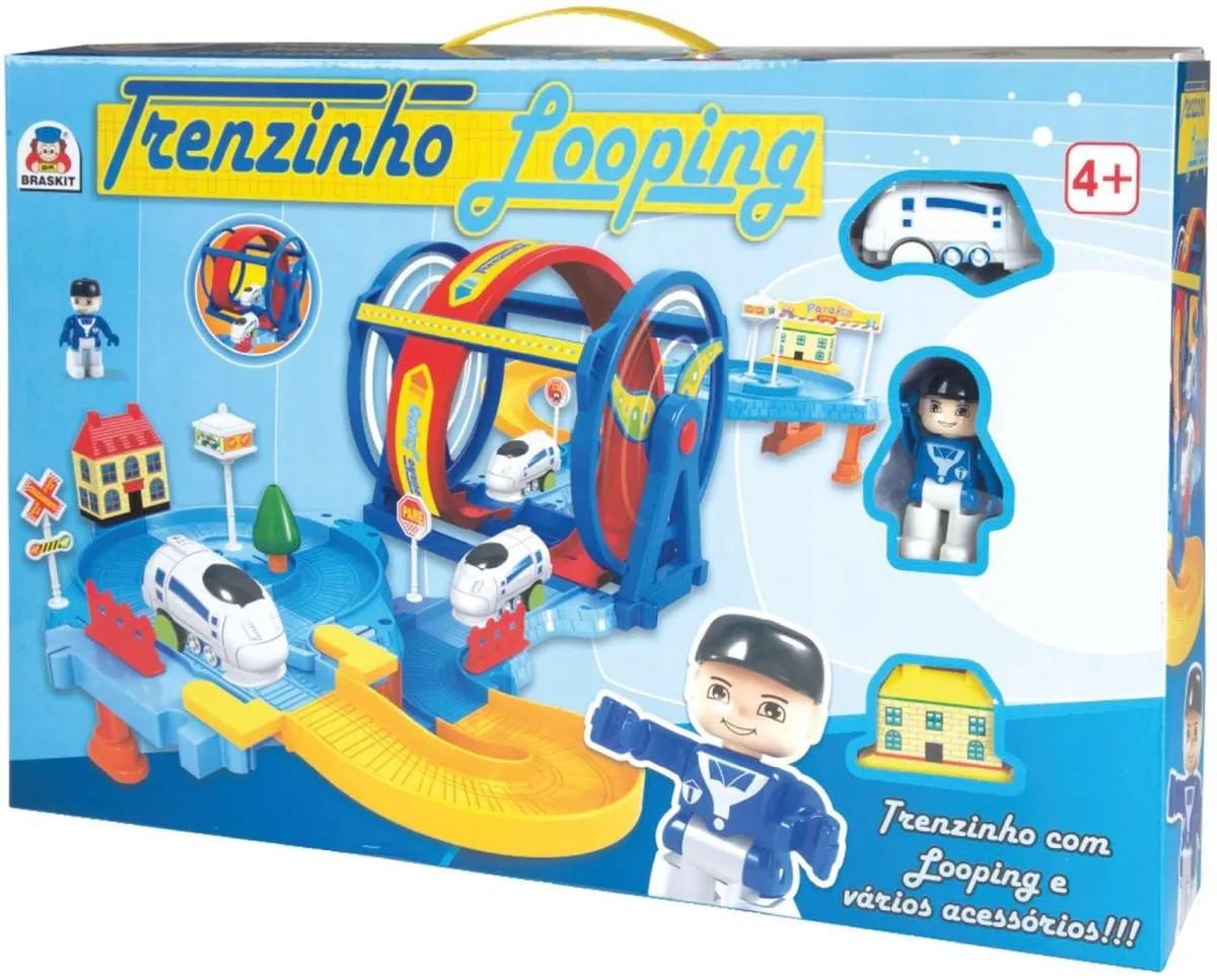 TRENZINHO LOOPING COM BONECO COM ACESSÓRIOS 0305 BRASKIT