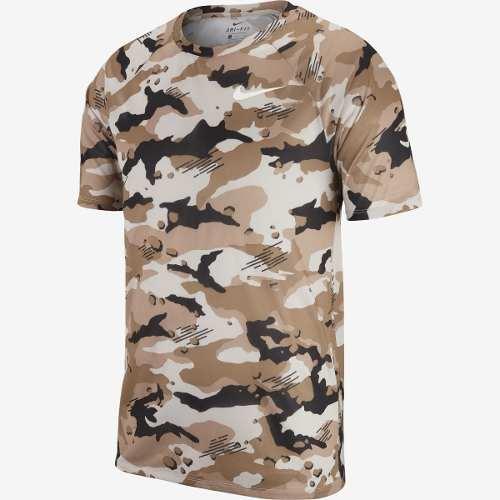 Camiseta Nike Dri Fit Camuflada Bege/preta - 923524-008