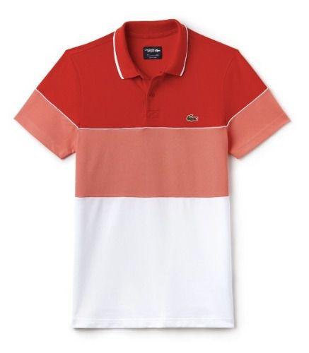 Camisa Polo Lacoste Dh2102 Laranja/salmão/branco