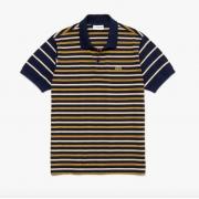 Camisa Lacoste Polo Classic Fit em dois materiais com listras dissimilares Azul/Amarelo PH8791 21 DQF