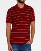 Camisa Lacoste Polo Classic Fit em dois materiais com listras dissimilares Vermelho/Azul/Brano PH8791 21 2NR