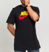 Camiseta Nike Sportwear Icon Futura AR5005-013 Preto Logo Amarelo/Vermelho