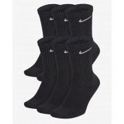 Meia Nike Cano Alto Everyday Cotton Cushion Crew – 6 Pares (39-43) - Preto