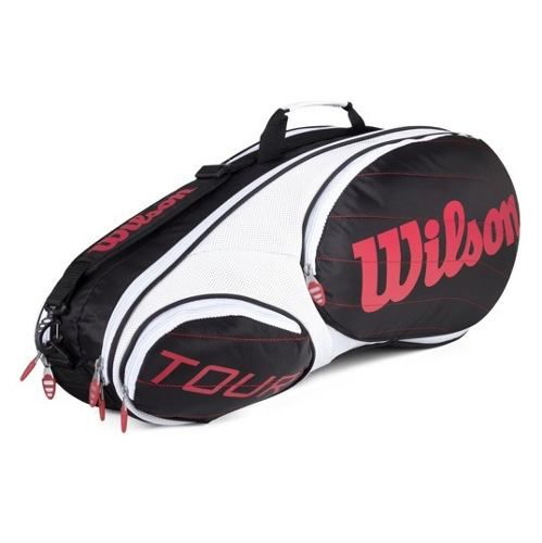 Raqueteira Wilson Tour 6pk Branco/vermelho