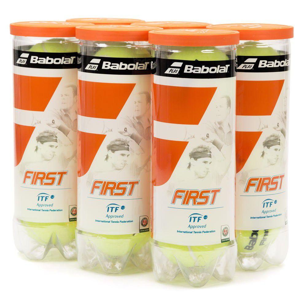 Bola de Tênis Babolat First - 06 Tubos com 3 Bolas