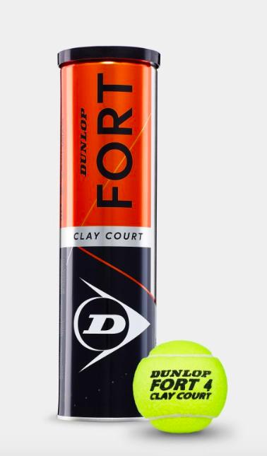 Bola de Tênis Dunlop Fort Clay - Caixa Fechada com 18 Tubos de 4 Tubos