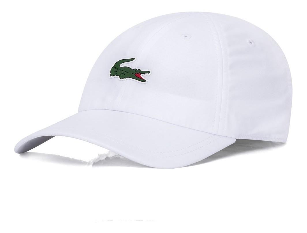 Boné Lacoste Sport Tennis Masculino em Microfibra com logo do Crocodilo Branco