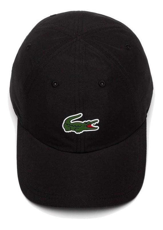 Boné Lacoste Sport Tennis Masculino em Microfibra com logo do Crocodilo Preto