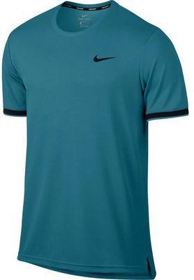 Camiseta Nike Court Dry Azul com Logo Preto