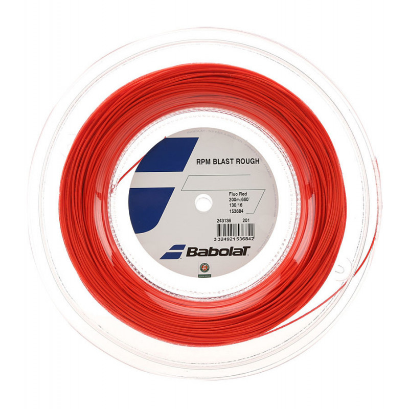 Corda Babolat RPM Blast Rough 16/1,30mm - Fluo Red - Rolo com 200mts