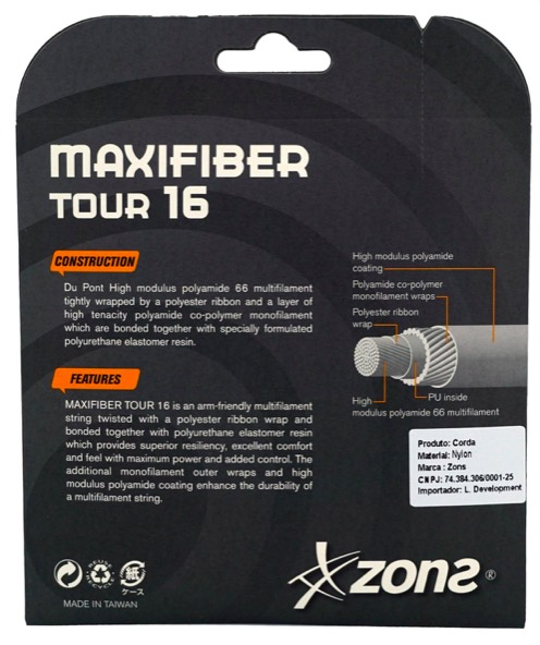 Corda Zons Maxifiber Tour 16 1,30mm –Preto -  Set Individual