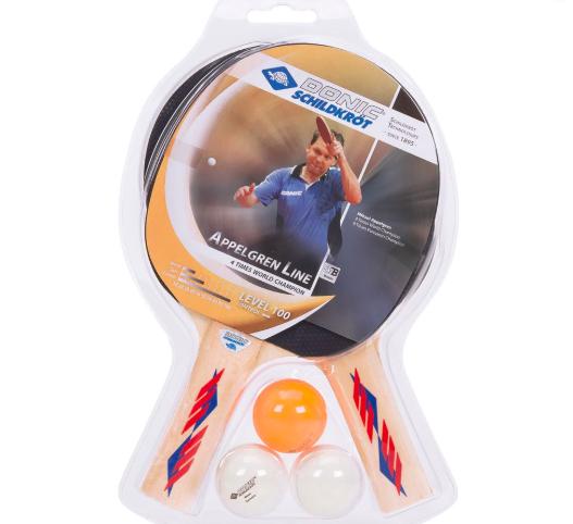 Kit Tênis de Mesa Donic Appelgren Line com 02 Raquetes e 03 Bolas