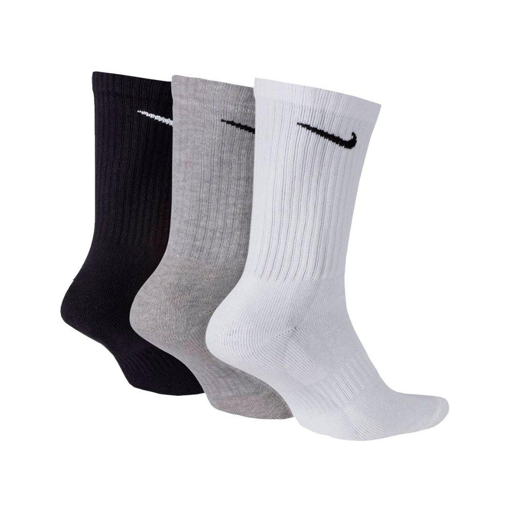 Meia Nike Cano Alto Everyday Cushion Crew 3 pares - Cores Mistas (34-38)
