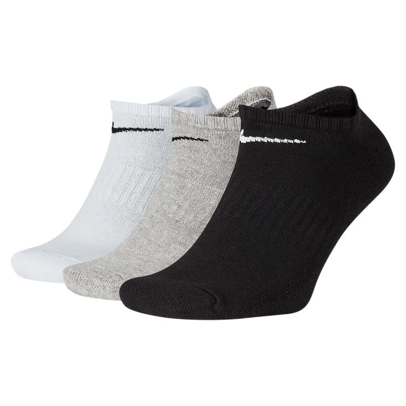 Meia Nike Sem Cano Everyday Cushion No Show 3 pares  - Branca/Preta/Cinza  (34-38)
