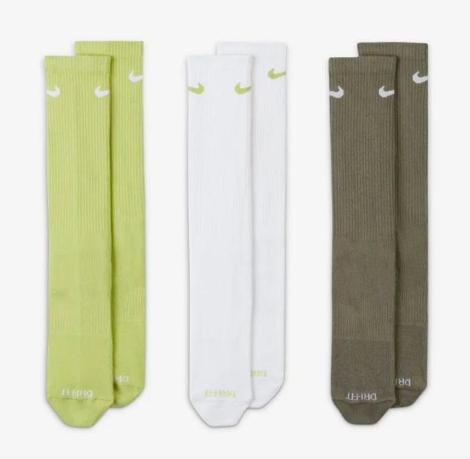 Meia Nike Everyday Plus Lightweight 3 Pares - Branco/Cinza/Verde