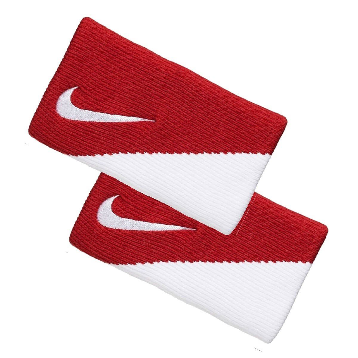 Munhequeira Nike Dri-fit Doublewide 2.0 Vermelha e Branca - 02 Unidades