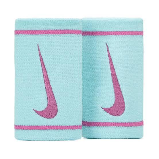 Munhequeira Nike Dri-fit Doublewide Azul Ice e Pink - 02 Unidades.