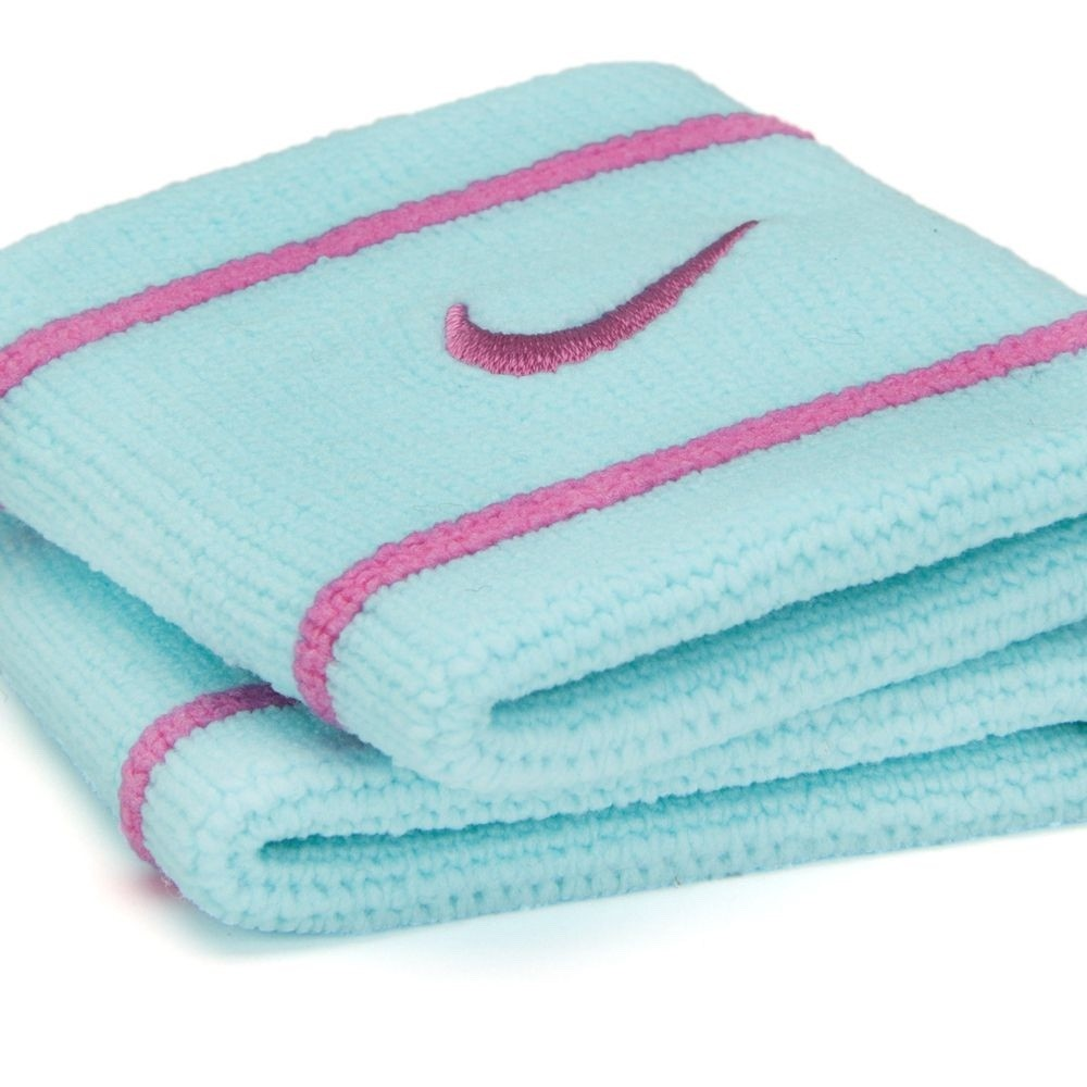 Munhequeira Nike Dri-fit Pequena Azul Claro/Rosa - 1 Par