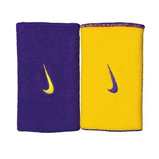 Munhequeira Nike Dupla Face Grande Amarelo e Roxo - 1 Par