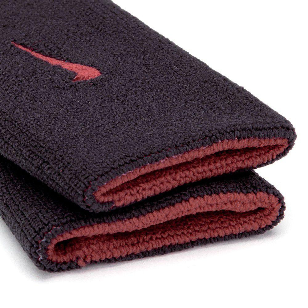 Munhequeira Nike Dupla Face Grande Vermelho e Preto - 1 Par