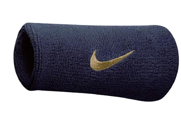Munhequeira Nike Grande Swoosh Double Wide - Azul Marinho/Dourado - 01 Par