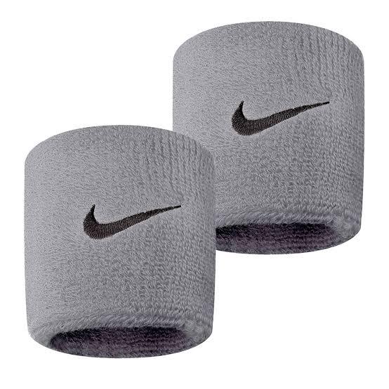 Munhequeira Nike Swoosh Pequena Cinza - 02 Unidades