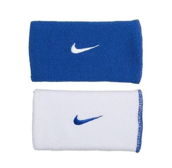 Munhequeira NikeDri-Fit Dupla Face Grande Azul e Branca - 02 Unidades