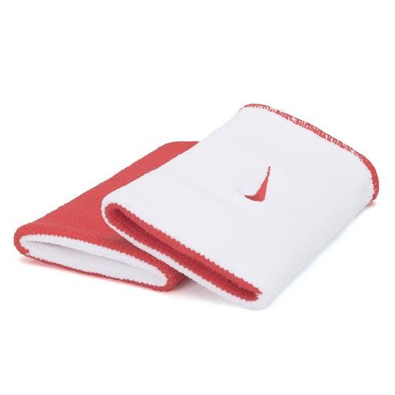 Munhequeira NikeDri-Fit Dupla Face Grande Vermelha e Branca - 01 Par