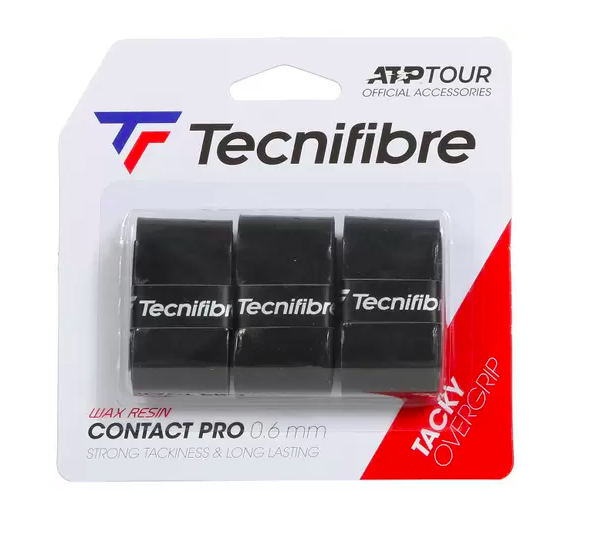 Overgrip Tecnifibre Contact Pro 0.6mm - Embalagem com 3 unidades - Preto