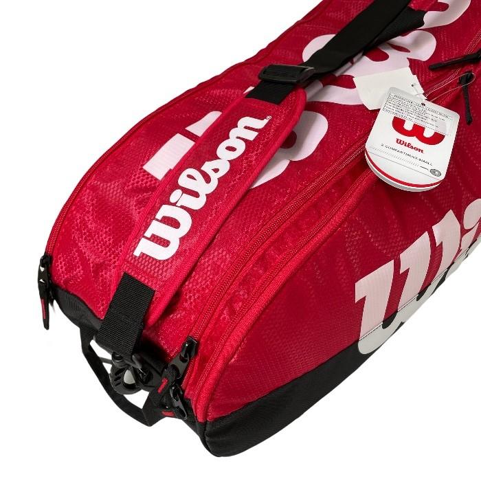 Raqueteira Wilson Team 2 Comp Preta/Vermelha