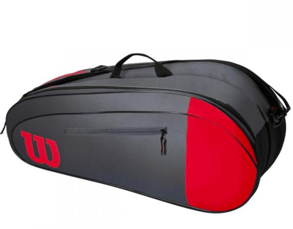 Raqueteira Wilson Team X6 - Vermelha/Cinza