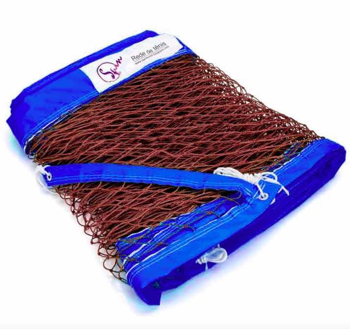 Rede de Beach Tennis Spin Recreação - Fio 2.2 Marrom - Azul