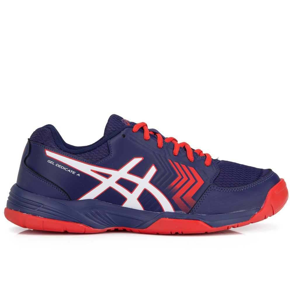 Tênis Asics Gel Dedicate 5 A - E001B-4601- Dark Denim/White/Fiery Red