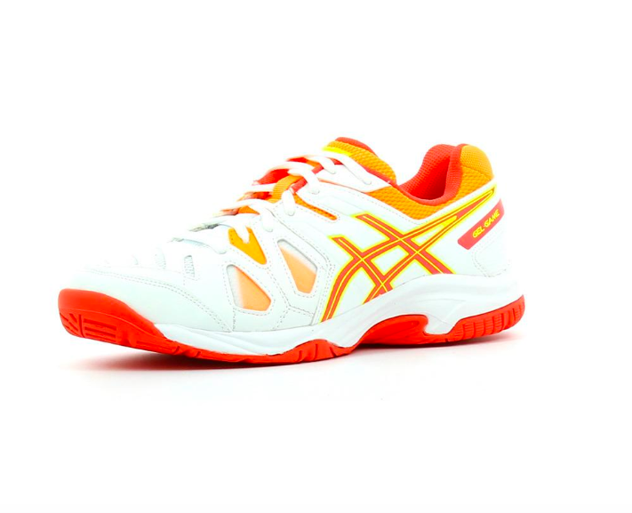 Tênis Asics Gel Game 5 GS - White/Hot Coral/Nectarine