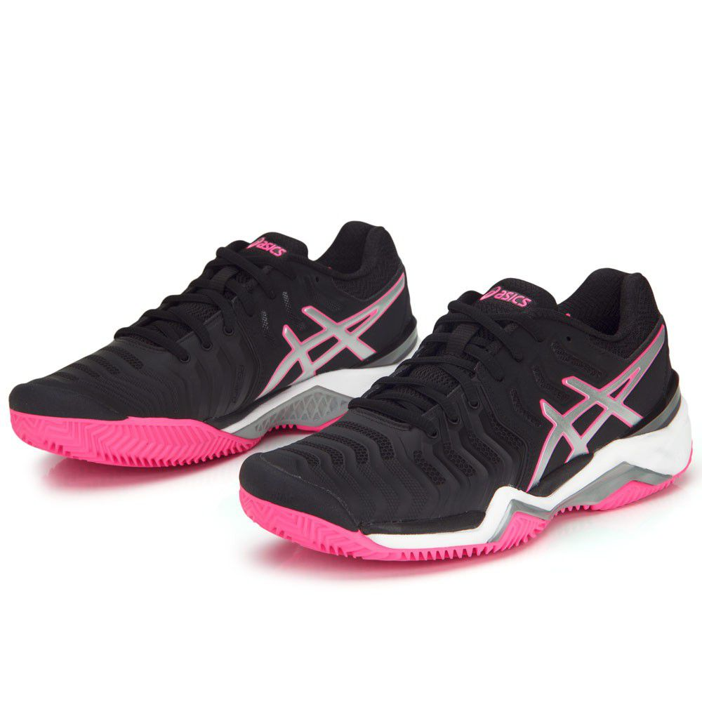 Tênis Asics Gel Resolution 7 Clay - Black/Silver/Hot Pink