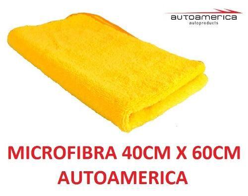 02 Cera Carnaúba Triple Wax Autoamerica 300g + 04 Flanela Toalha Microfibra 40 X 60 Cm Autoamerica
